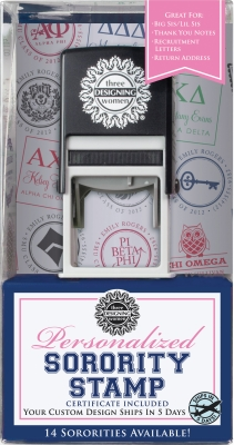 Greek Sorority Self-Inking Stamper and Personalized Stamp Design Certificate, plus a Black Ink Cartridge