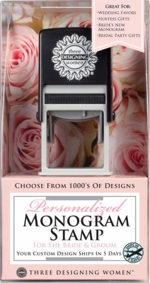 Self-Inking Bridal Stamper and Personalized Monogram Stamp Design Certificate, plus a Black Ink Cartridge