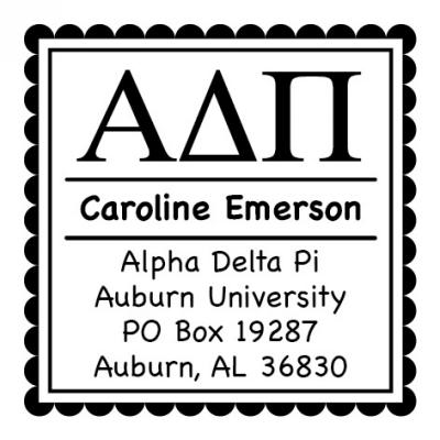 Alpha Delta Pi College Sorority Stamp by Three Designing Women