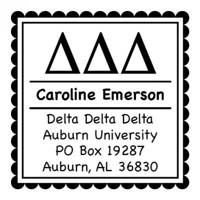 Delta Delta Delta Sorority Self-Inking Stamp by Three Designing Women