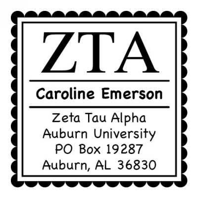 Zeta Tau Alpha College Sorority Self-Inking Stamp by Three Designing Women