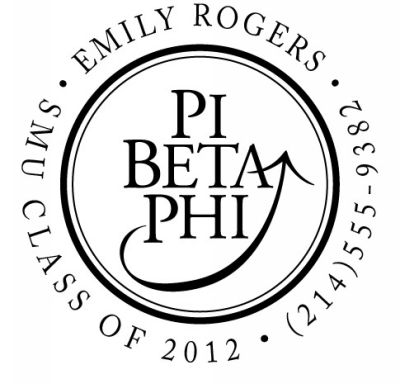 Pi Beta Phi Round Three Designing Women college sorority Self-Inking Stamp