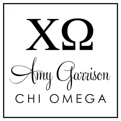 Chi Omega Round College Sorority Stamp by Three Designing Women