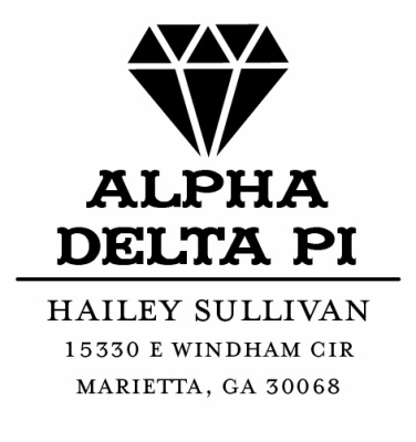 Alpha Delta Pi College Sorority Stamp by Three Designing Women