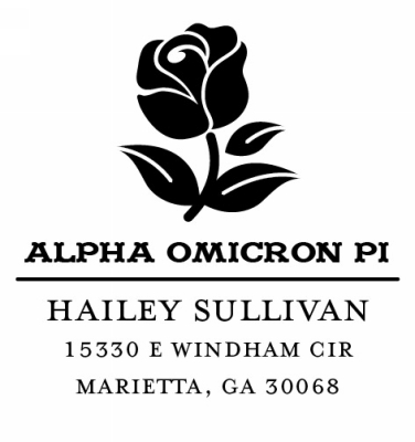 Alpha Omicron Pi College Sorority Custom Self-Inking Stamp by Three Designing Women