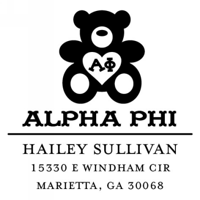 Alpha Phi Sorority Custom Self-Inking Stamp by Three Designing Women