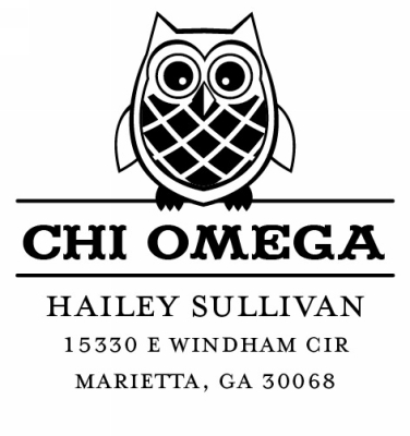 Chi Omega Round College Sorority Custom Self-Inking Stamp by Three Designing Women