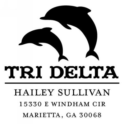 Delta Delta Delta Sorority Custom Self-Inking Stamp by Three Designing Women