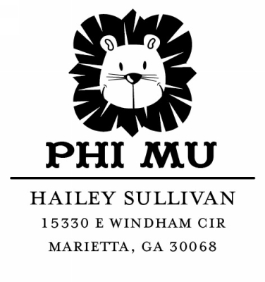 Phi Mu College Sorority Stamp by Three Designing Women