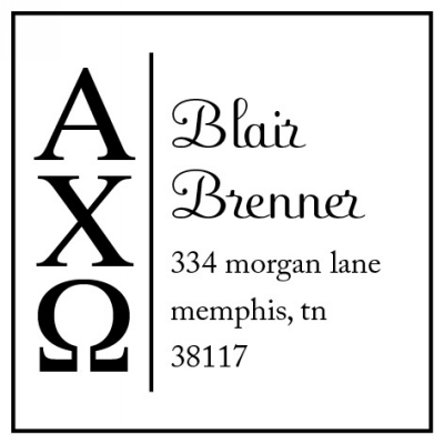 Alpha Chi Omega College Sorority Stamp by Three Designing Women