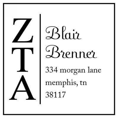 Zeta Tau Alpha College Sorority Stamp by Three Designing Women