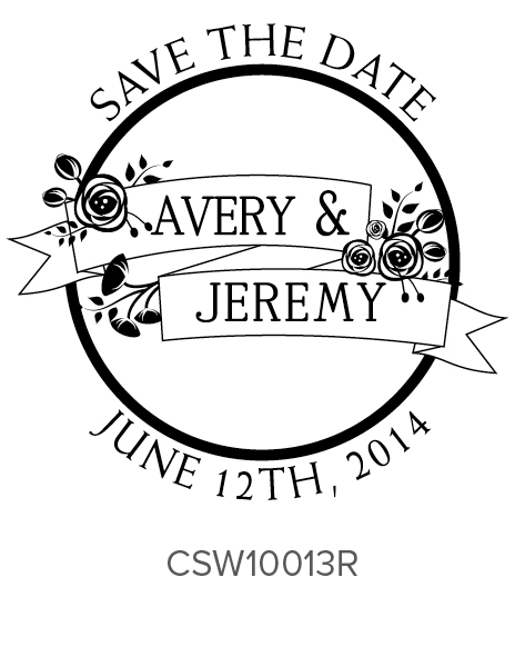 Personalized Self-Inking Wedding Stamper by Three Designing Women CSW10013R