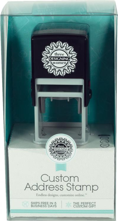 Custom Self-Inking Address Stamper with Personalized Stamp Design Certificate, plus a Black Ink Cartridge by Three Designing Women