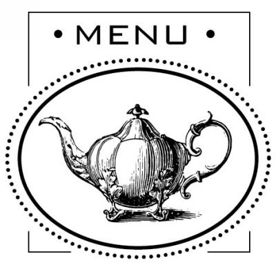 Teapot Menu Stamp Design Clip for Three Designing Women Stampers