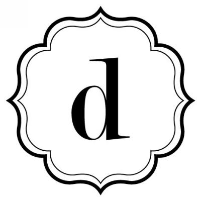 Monogram Scallop D Stamp Design Clip for Three Designing Women Stampers