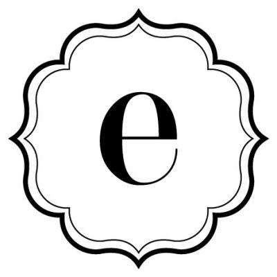 Monogram Scallop E Stamp Design Clip for Three Designing Women Stampers