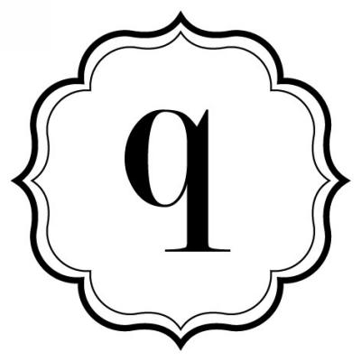 Monogram Scallop Q Stamp Design Clip for Three Designing Women Stampers