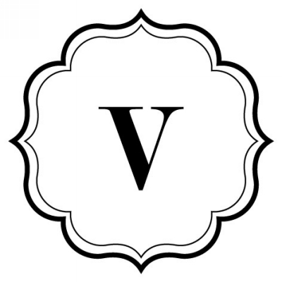 Monogram Scallop V Stamp Design Clip for Three Designing Women Stampers