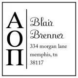 Alpha Omicron Pi College Sorority Stamp by Three Designing Women
