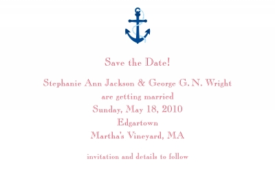 Anchor Save the Date Personalized by Boatman Geller