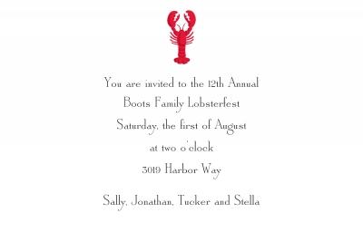 Lobster Invitation Personalized by Boatman Geller