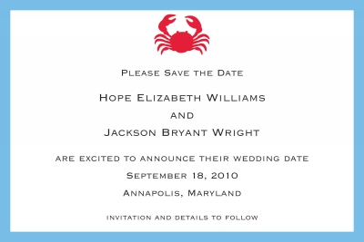 Crab Save the Date Personalized by Boatman Geller