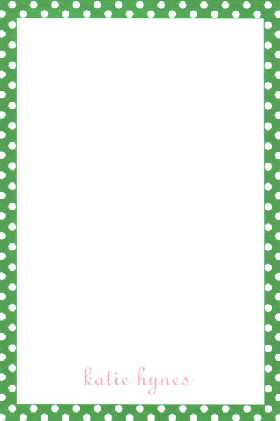 Boatman Geller Personalized Green Polka Dot Notepad Discounted