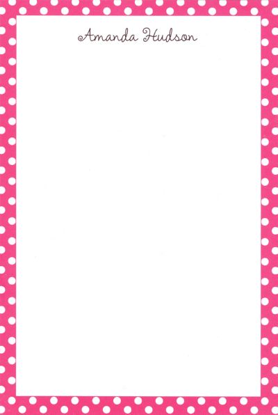 Boatman Geller Personalized Pink Polka Dot Notepad Discounted