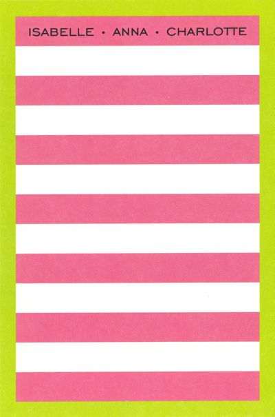 Boatman Geller Personalized Dark pink rugby/lime border Notepad Discounted