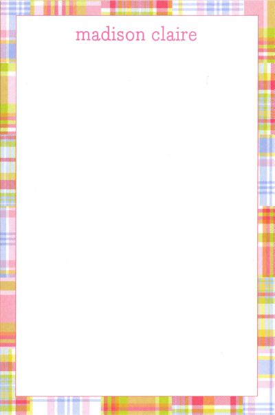 Boatman Geller Personalized Pink Madras Patch Notepad Discounted