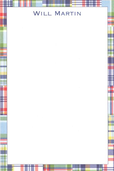 Boatman Geller Personalized Blue Madras Patch Notepad Discounted