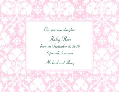 Pink Damask Invitation or Announcement Personalized by Boatman Geller
