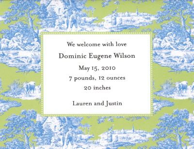 Blue and Green Toile Invitation or Announcement Personalized by Boatman Geller