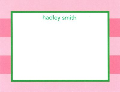 Pink Rugby Flat Note Card Personalized by Boatman Geller