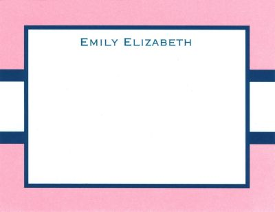 Light Pink and Navy Stripe Invitation or Announcement Personalized by Boatman Geller