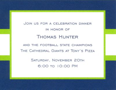 Navy and Lime Stripe Invitation or Announcement Personalized by Boatman Geller