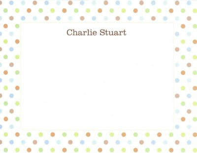 Blue Multi Confetti Flat Note Card Personalized by Boatman Geller