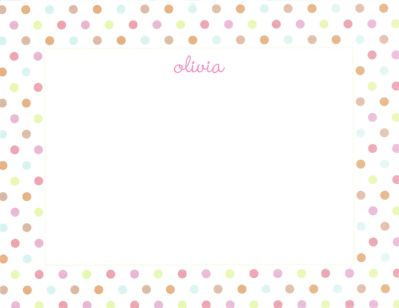 Pink Multi Confetti Flat Note Card Personalized by Boatman Geller