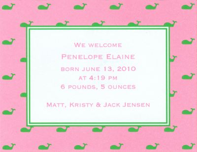 Whale Pink Invitation or Announcement Personalized by Boatman Geller