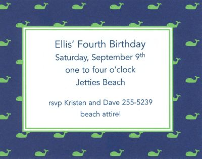 Whale Blue Invitation or Announcement Personalized by Boatman Geller