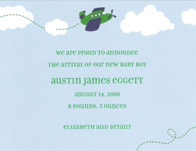Airplane Invitation or Announcement Personalized by Boatman Geller