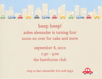 Cars Invitation or Announcement Personalized by Boatman Geller