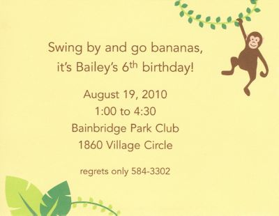 Monkey Invitation or Announcement Personalized by Boatman Geller