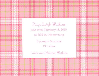 Pink Plaid Invitation or Announcement Personalized by Boatman Geller