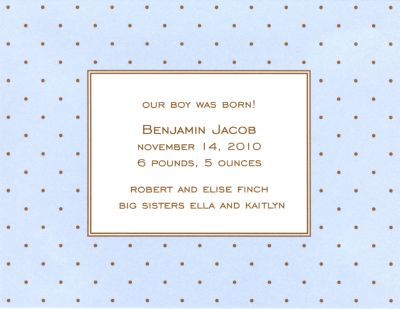 Blue with Brown Dot Invitation or Announcement Personalized by Boatman Geller