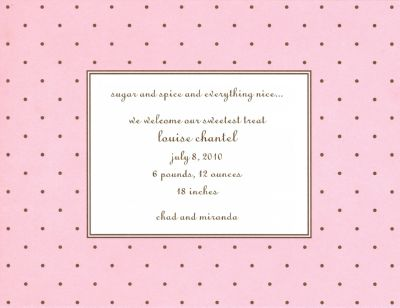 Dot Pink with Brown Invitation or Announcement Personalized by Boatman Geller