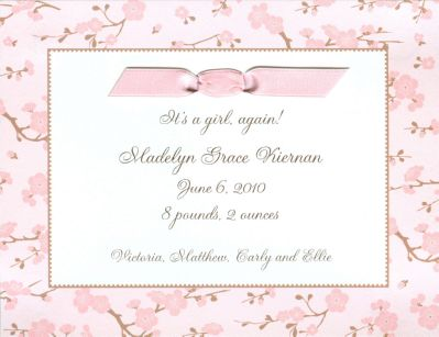 Baby Blossom Invitation or Announcement Personalized by Boatman Geller