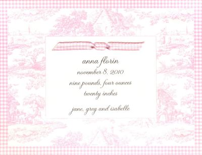Pink Toile Invitation or Announcement Personalized by Boatman Geller