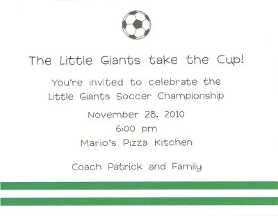 Soccer Invitation or Announcement Personalized by Boatman Geller