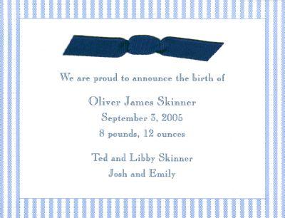 Blue Seersucker Invitation or Announcement Personalized by Boatman Geller